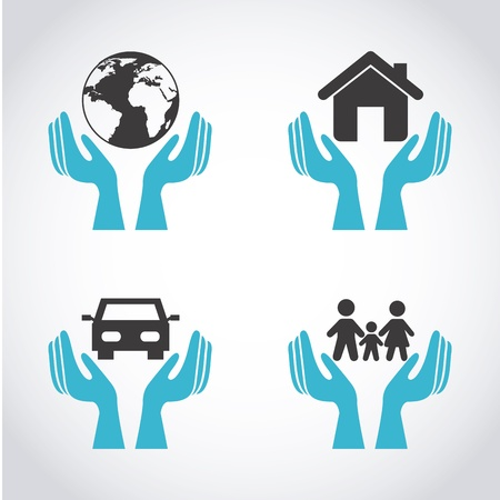 house insurance: insurance icons over gray background