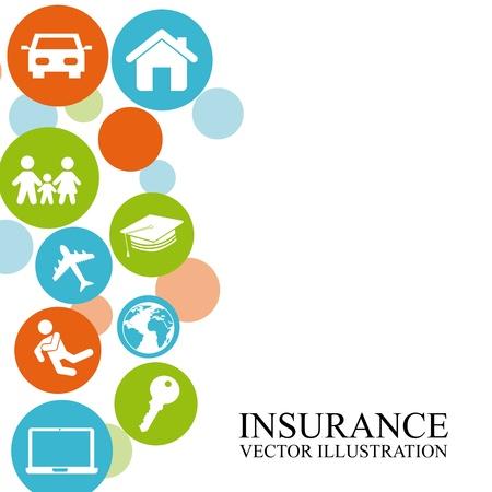白い背景の上保険設計  イラスト・ベクター素材