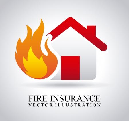 incendio casa: seguro de incendios sobre fondo gris
