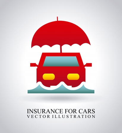 insurance for car over gray background  Vector
