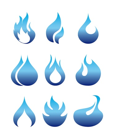 petroleum blue: flames icon over white background  Illustration