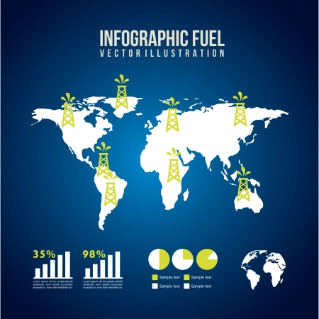 infographics fuel over blue background  Vector