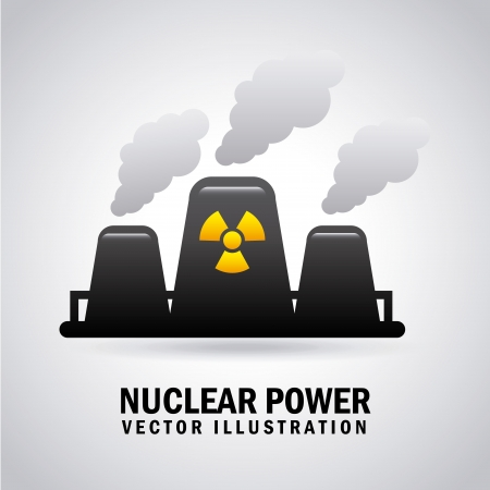 nuclear power over gray background  Illustration