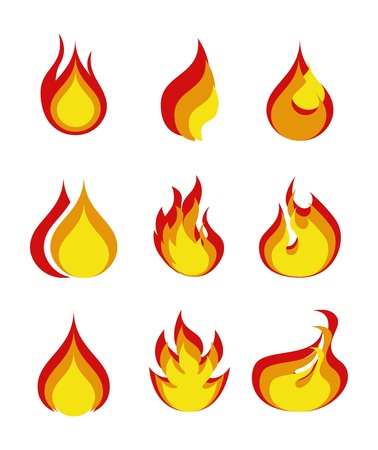 flames icon over white background  Illustration