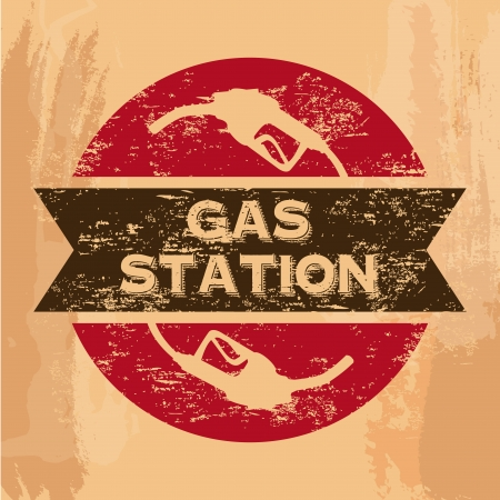 gas station seal over vintage background  Stock Vector - 21287262