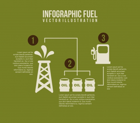 infographics fuel over green background  Vector