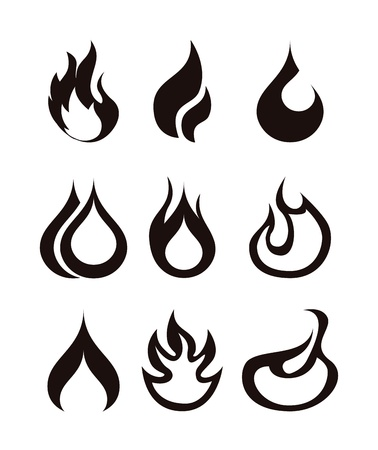 gas burners: flames icon over white background  Illustration