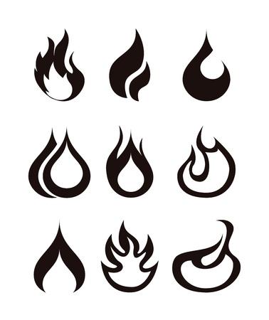gas burner: flames icon over white background  Illustration