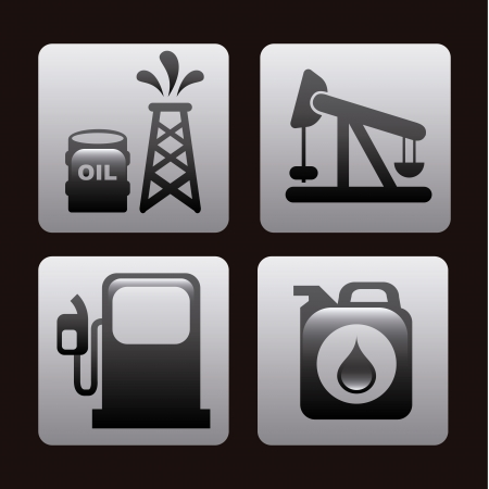 fuel icons over black background  Vector