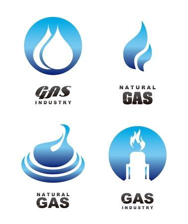gas flame: gas icons over white background  Illustration