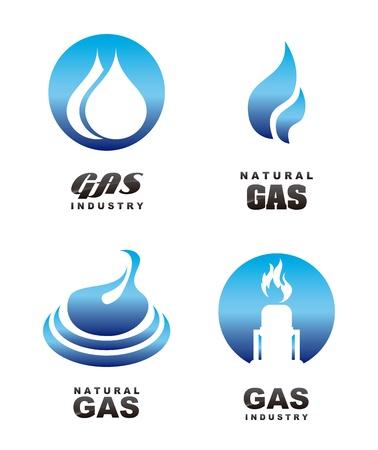 petroleum: Iconos de gas sobre fondo blanco Vectores