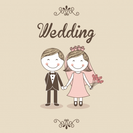 marriage cartoon: wedding design over pink background  Illustration