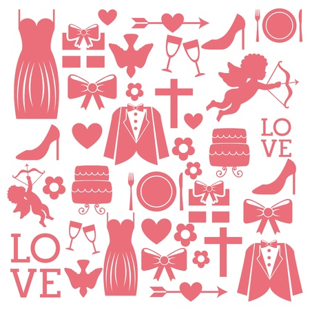 wedding icons over white background Vector