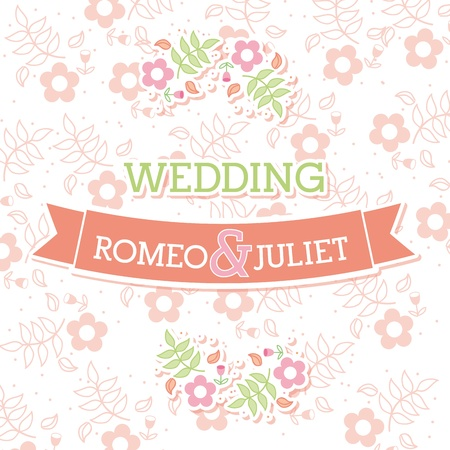 romeo and juliet: wedding design over white background