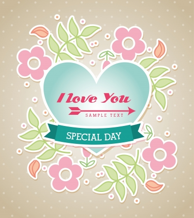 love design  over dotted background  Vector