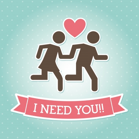 i need you over blue background  Vector