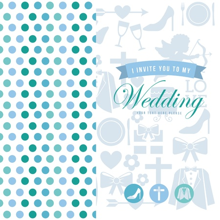 wedding card over white background  Vector