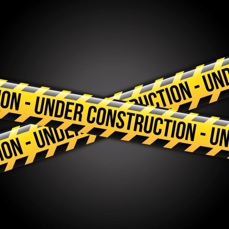 traffic barricade: under construction ribbons over black background