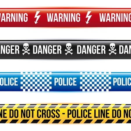 caution tape over white background  Stock Vector - 21287336