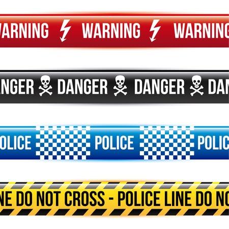 no trespassing: caution tape over white background  Illustration