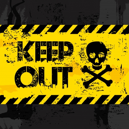 keep out: keep out over black background  Illustration