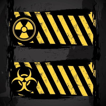 prudence: biohazard signs over black background