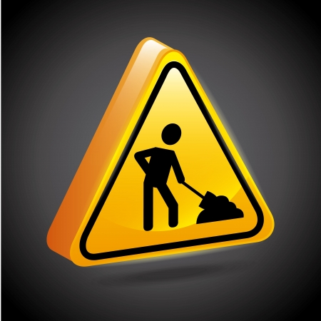 limited access: construction signs over black background  Illustration