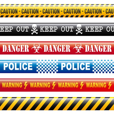 caution tapes over white background