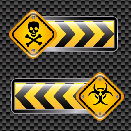 biohazard signs over black background  Vector