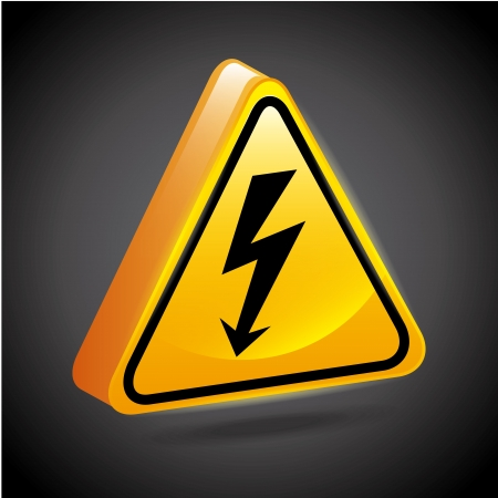high voltage signs over black background  Stock Vector - 21275089