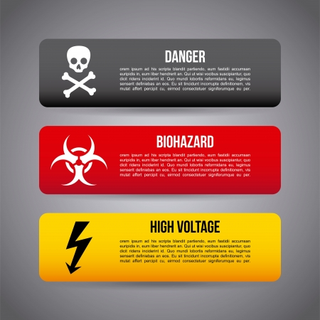 poison arrow: caution infographics over gray background
