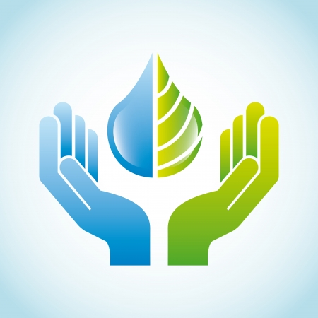 water safety: eco design over blue background