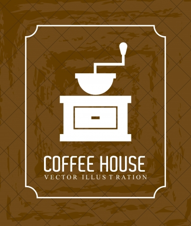coffee house over brown background  Vector