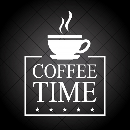 time over: coffee time over black background