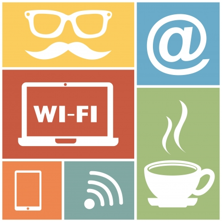 coffeehouse: connections icons over colorful background