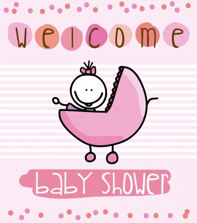 doddle: baby shower over pink background