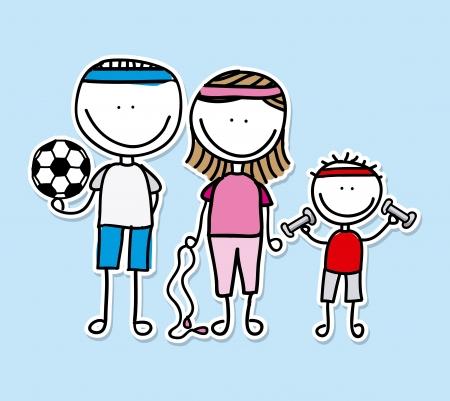 Diseño de la familia sobre fondo azul Foto de archivo - 21287421