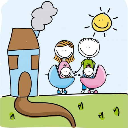family design over landscape background  Vector