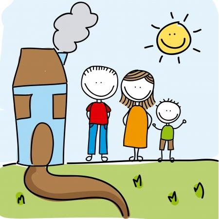 family design over landscape background  Vector