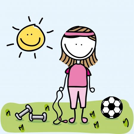 sport girl over landscape background