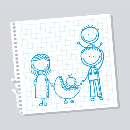 family design over leaf notebook background  Vector