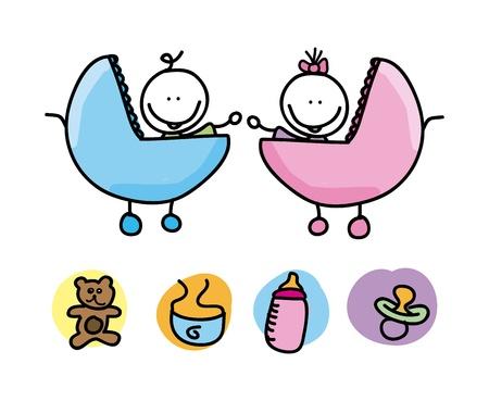 Icônes de bébé sur fond blanc Banque d'images - 21287440