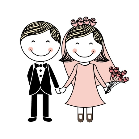encantador: projeto do casamento sobre o fundo branco Ilustração