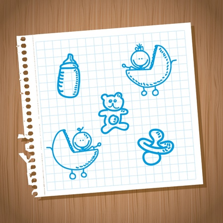 doddle: baby icons over leaf notebook background