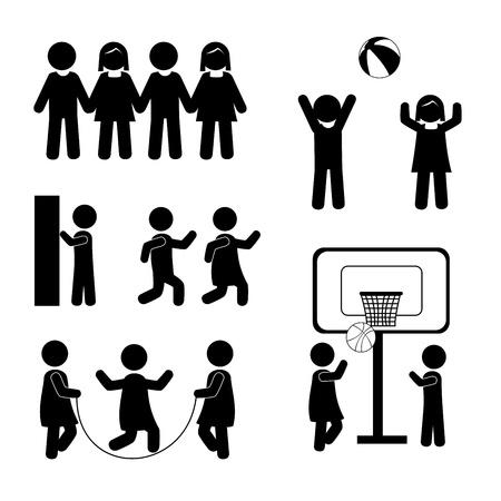 balon baloncesto: Ni�os de la silueta sobre el fondo blanco