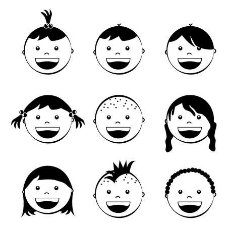 baby faces over white background  Stock Vector - 21287468
