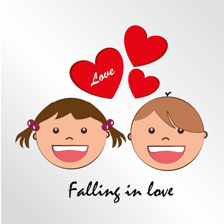 genders: falling in love over gray background  Illustration