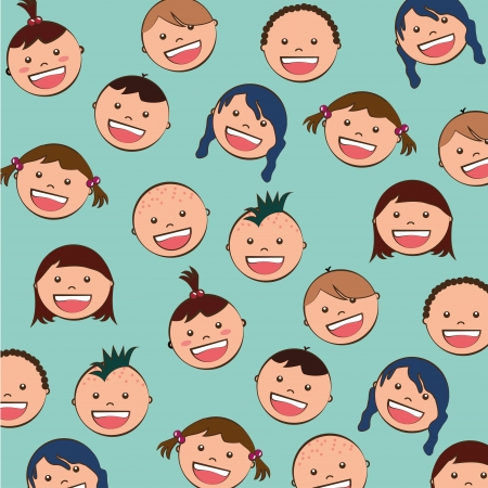 baby faces over blue background Stock Vector - 21287514