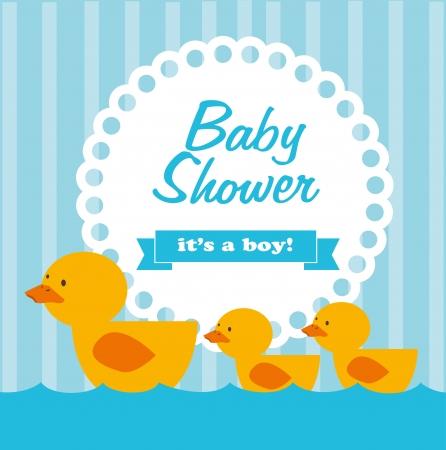 baby shower over blue background  Illustration