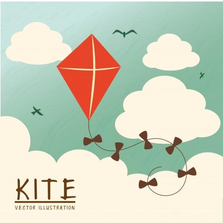 上空の背景上の凧のデザイン